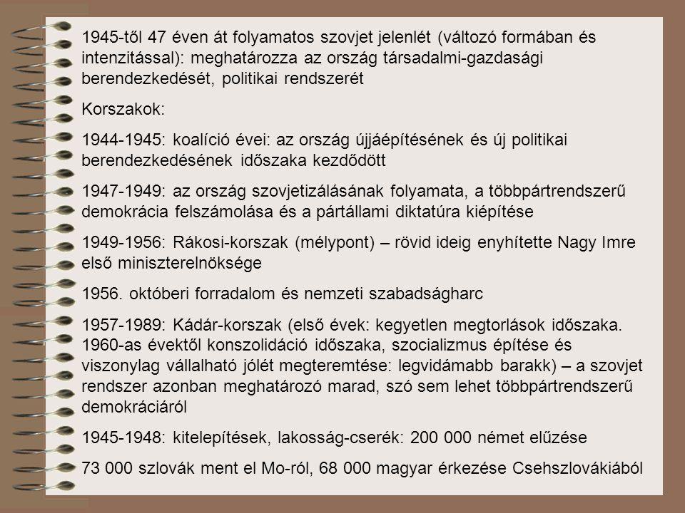 """1945: politikai erők polarizálása: A kommunista jelszó: Ki a nép ellenségeivel a koalícióból! Az adminisztratív eljárások irányítója: Belügyminisztériumban létrehozott Államvédelmi Osztály (ÁVO) Magyar Kommunista Párt élére Rákosi Mátyás kerül Sztálin akaratából kerül az élre – teljesen ki volt szolgáltatva neki """"Sztálin legjobb tanítványa – a kultusz kiépítése is az ő nevéhez köthető 1956 júliusában Moszkva utasítására leváltották első titkári tisztéből, és a Szovjetunióba vitték."""