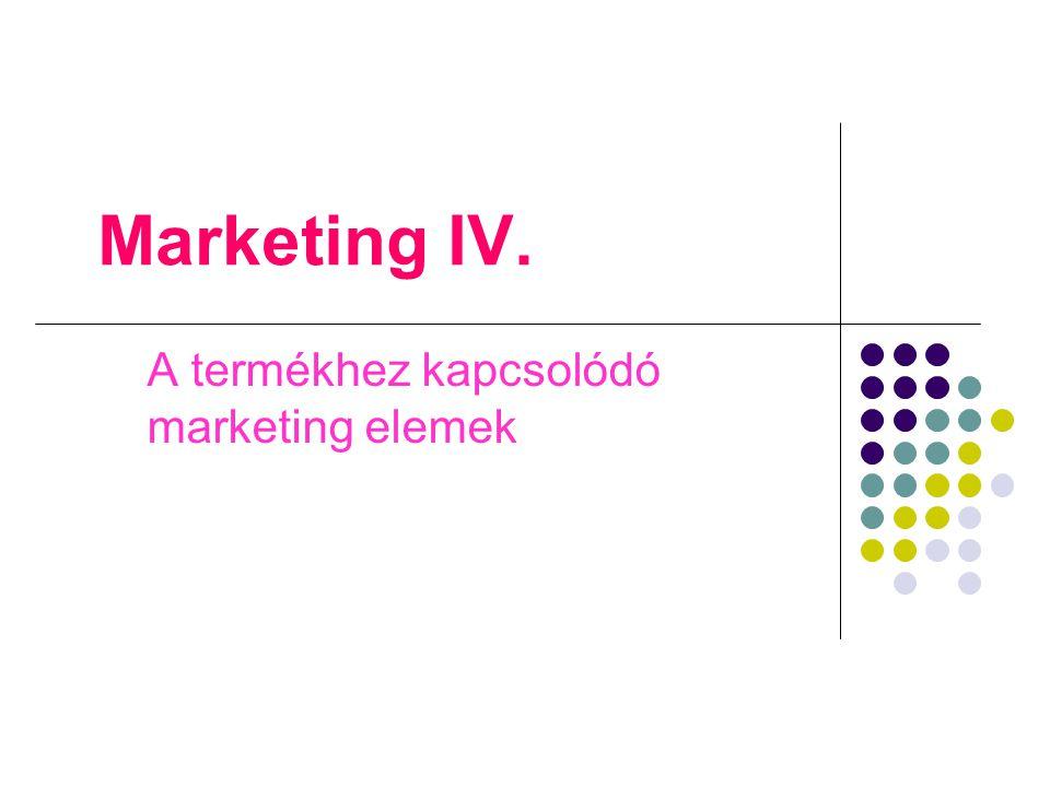 Marketing IV. A termékhez kapcsolódó marketing elemek