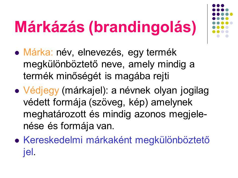 Márkázás (brandingolás) Márka: név, elnevezés, egy termék megkülönböztető neve, amely mindig a termék minőségét is magába rejti Védjegy (márkajel): a