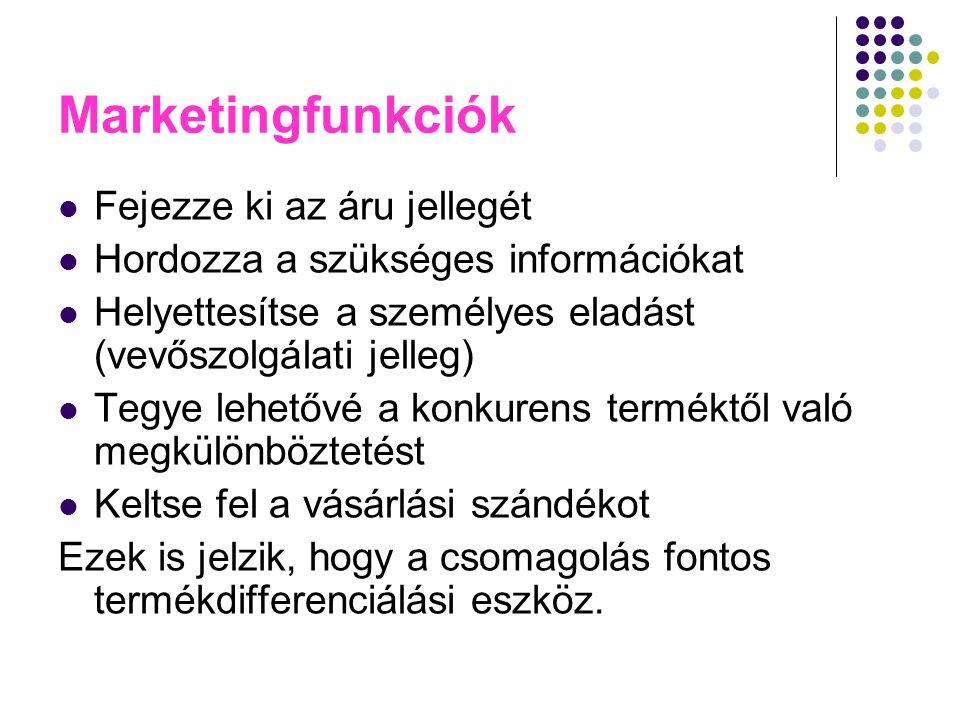 Marketingfunkciók Fejezze ki az áru jellegét Hordozza a szükséges információkat Helyettesítse a személyes eladást (vevőszolgálati jelleg) Tegye lehető