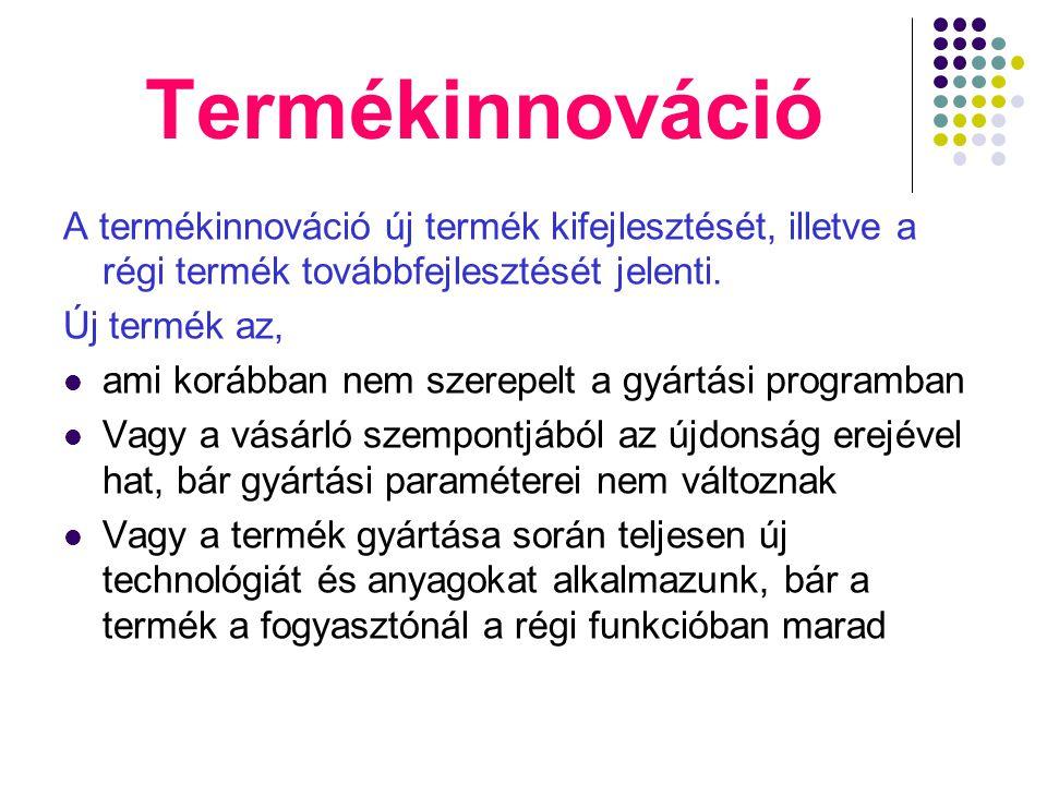 Termékinnováció A termékinnováció új termék kifejlesztését, illetve a régi termék továbbfejlesztését jelenti. Új termék az, ami korábban nem szerepelt