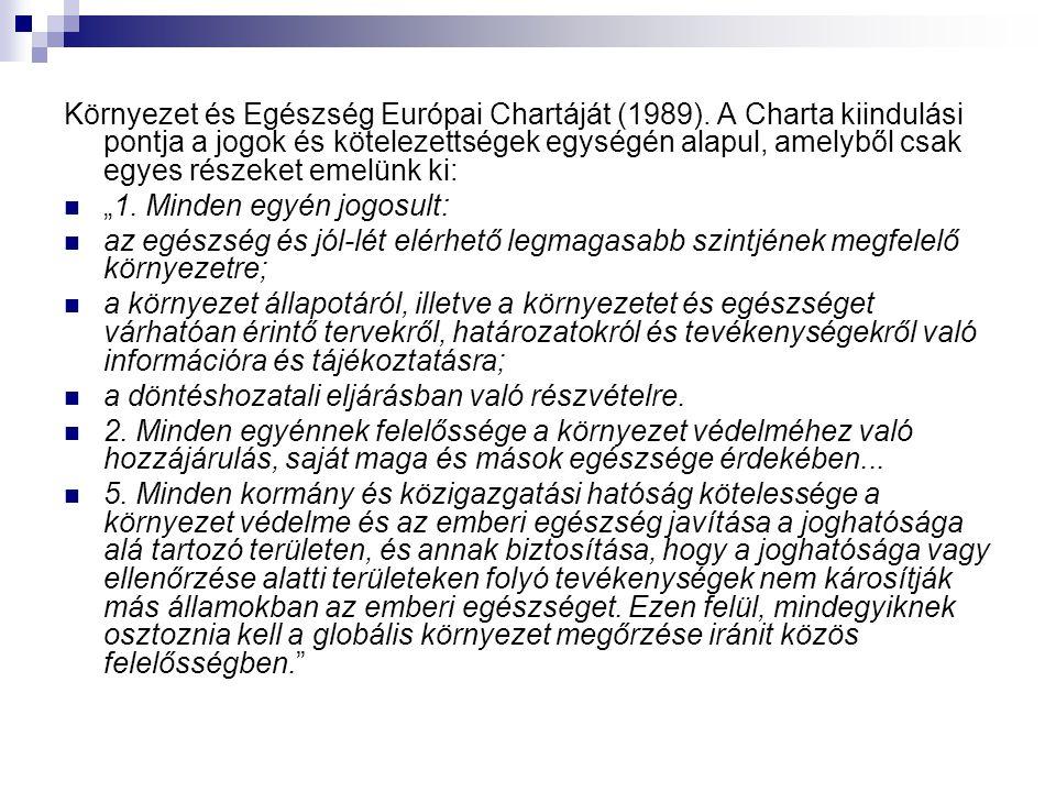 Környezet és Egészség Európai Chartáját (1989). A Charta kiindulási pontja a jogok és kötelezettségek egységén alapul, amelyből csak egyes részeket em