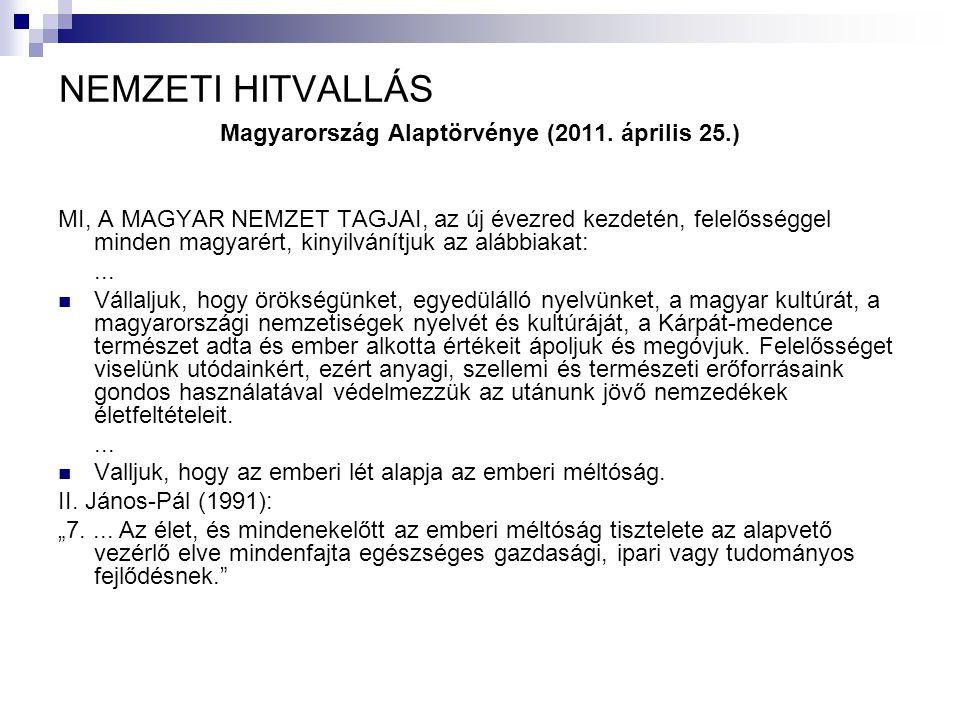 NEMZETI HITVALLÁS Magyarország Alaptörvénye (2011. április 25.) MI, A MAGYAR NEMZET TAGJAI, az új évezred kezdetén, felelősséggel minden magyarért, ki