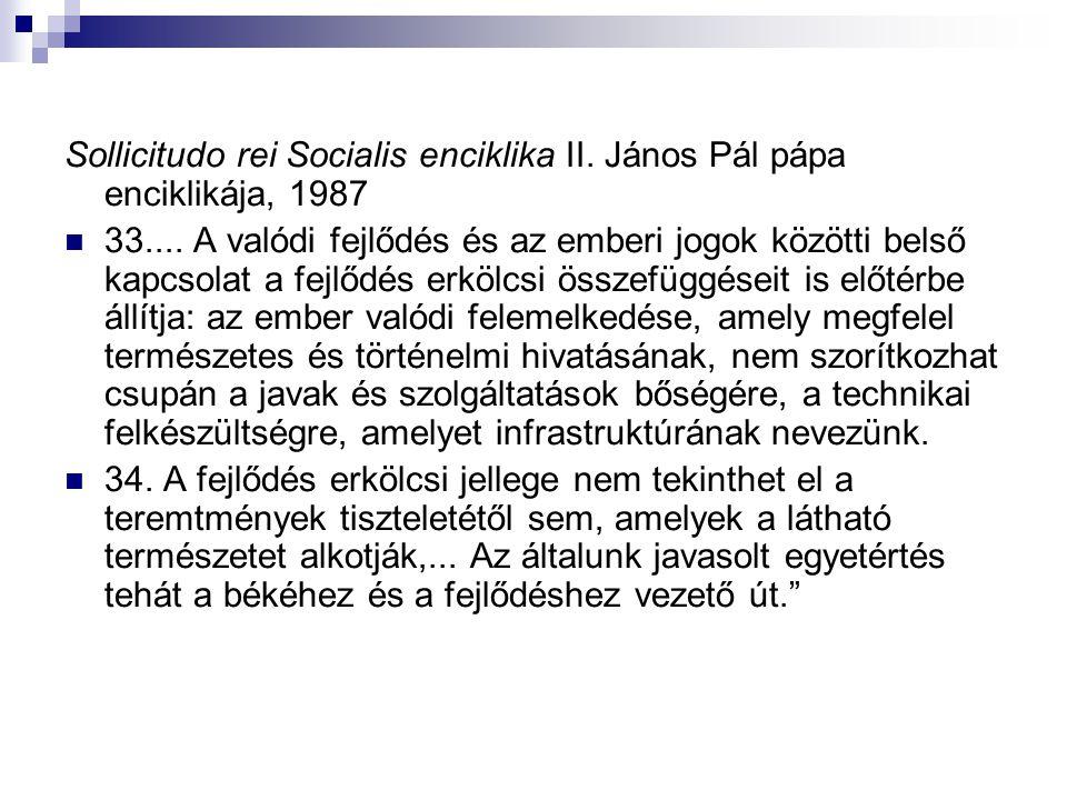 Sollicitudo rei Socialis enciklika II. János Pál pápa enciklikája, 1987 33.... A valódi fejlődés és az emberi jogok közötti belső kapcsolat a fejlődés