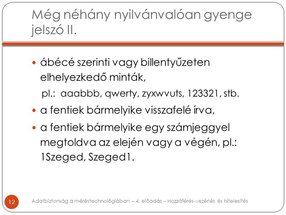 Még néhány nyilvánvalóan gyenge jelszó II. 12 ábécé szerinti vagy billentyűzeten elhelyezkedő minták, pl.: aaabbb, qwerty, zyxwvuts, 123321, stb. a fe