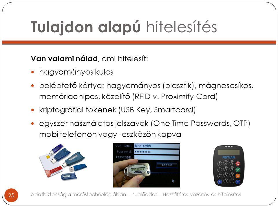 Tulajdon alapú hitelesítés 25 Van valami nálad, ami hitelesít: hagyományos kulcs beléptető kártya: hagyományos (plasztik), mágnescsíkos, memóriachipes, közelítő (RFID v.