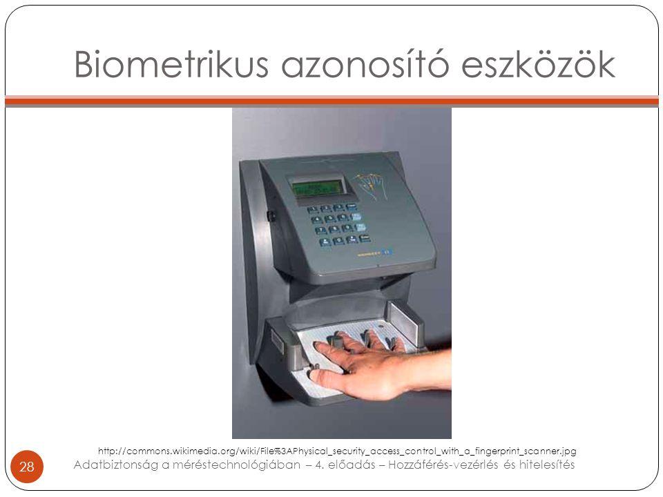 Biometrikus azonosító eszközök 28 Adatbiztonság a méréstechnológiában – 4. előadás – Hozzáférés-vezérlés és hitelesítés http://commons.wikimedia.org/w