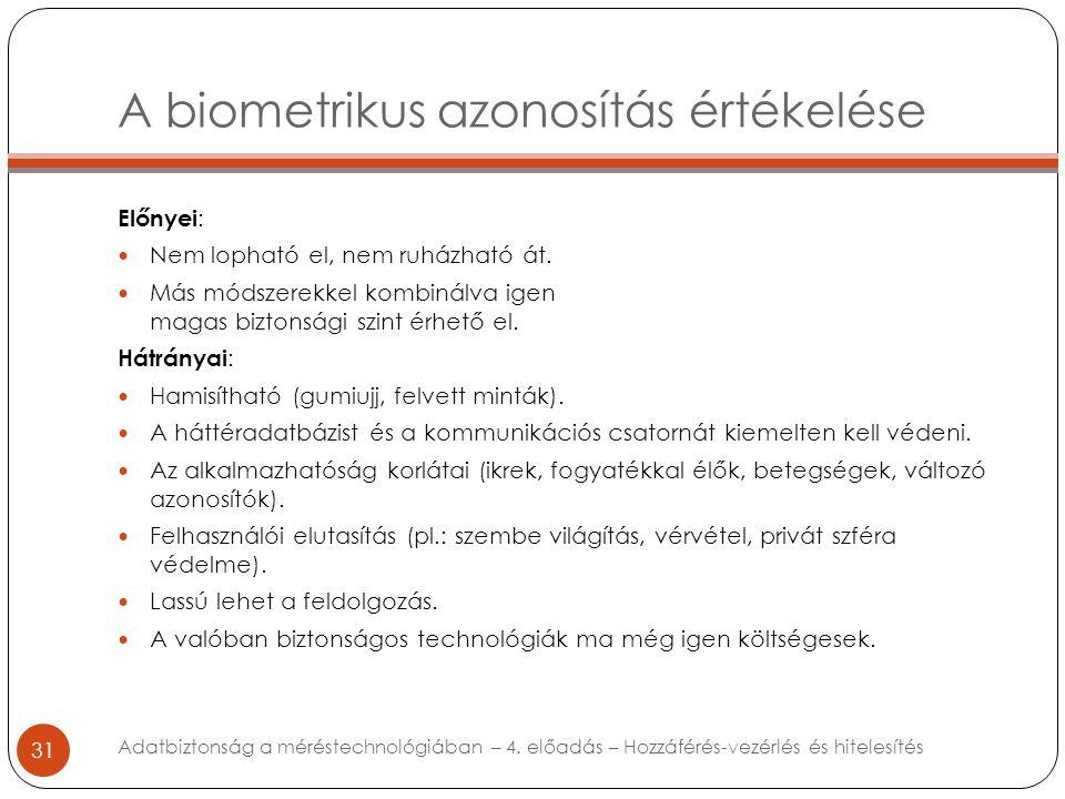 A biometrikus azonosítás értékelése 31 Előnyei : Nem lopható el, nem ruházható át. Más módszerekkel kombinálva igen magas biztonsági szint érhető el.