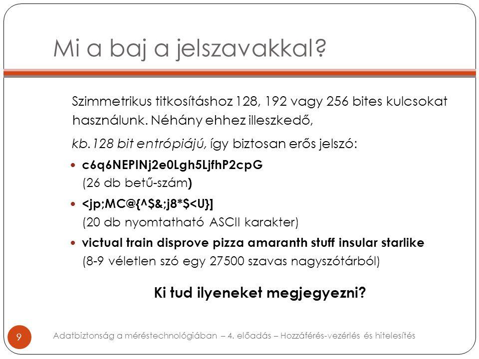 Mi a baj a jelszavakkal? 9 Szimmetrikus titkosításhoz 128, 192 vagy 256 bites kulcsokat használunk. Néhány ehhez illeszkedő, kb.128 bit entrópiájú, íg