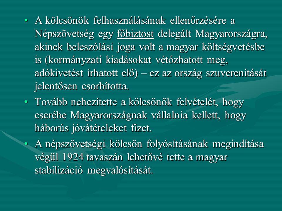 A kölcsönök felhasználásának ellenőrzésére a Népszövetség egy főbiztost delegált Magyarországra, akinek beleszólási joga volt a magyar költségvetésbe