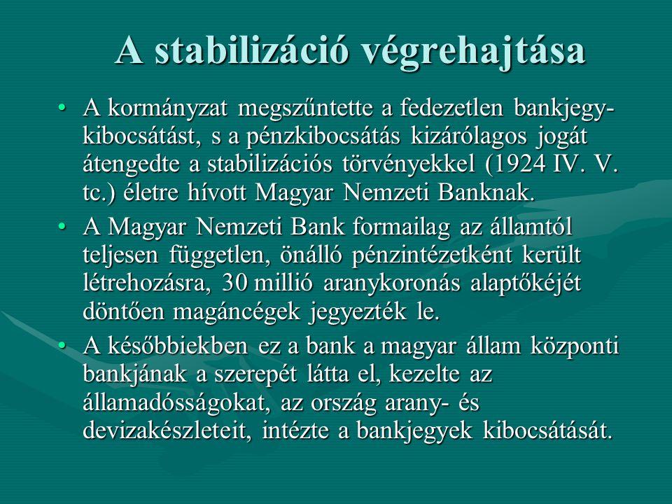 A stabilizáció végrehajtása A kormányzat megszűntette a fedezetlen bankjegy- kibocsátást, s a pénzkibocsátás kizárólagos jogát átengedte a stabilizáci