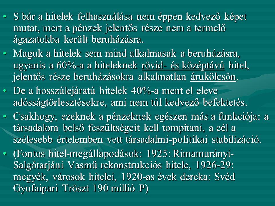 A magyar gazdaság az 1920-as 1930-as években A gazdasági válság hatása a magyar nemzetgazdaságra