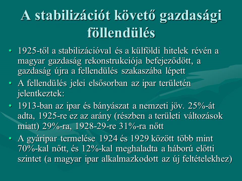 A stabilizációt követő gazdasági föllendülés 1925-től a stabilizációval és a külföldi hitelek révén a magyar gazdaság rekonstrukciója befejeződött, a