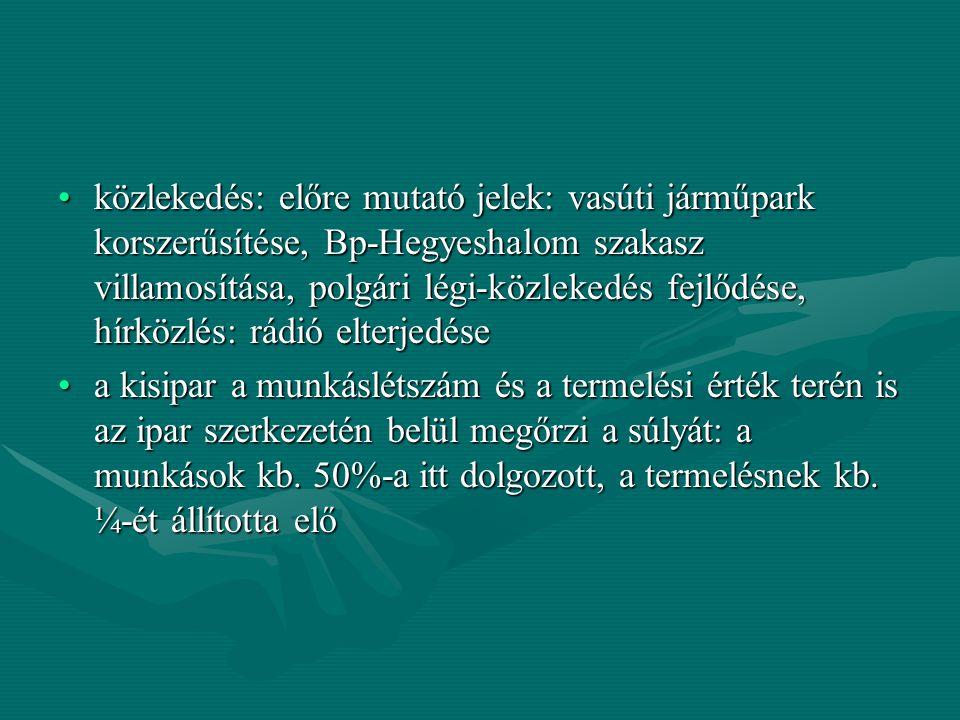 A magyar mezőgazdaság eredményei a stabilizációt követően is nagyon szerénynek mondhatóak, noha az ágazat túlsúlya a nemzeti jövedelem termelésében megmaradtA magyar mezőgazdaság eredményei a stabilizációt követően is nagyon szerénynek mondhatóak, noha az ágazat túlsúlya a nemzeti jövedelem termelésében megmaradt A legfontosabb problémák:A legfontosabb problémák: az exportlehetőségek romlanakaz exportlehetőségek romlanak a birtokszerkezet aránytalansága megmarad (túlsúlyban a nagybirtok, 1920-as földreform: 1,5 holdas földbirtokok, összes terület 7-8%-a csupán)a birtokszerkezet aránytalansága megmarad (túlsúlyban a nagybirtok, 1920-as földreform: 1,5 holdas földbirtokok, összes terület 7-8%-a csupán) A háború előtti művelési struktúra tovább él, konzerválódik: korszerűtlen, monokultúrás búzatermelés (a művelhető földek 54%-án) (kapásnövények, zöldségfélék, szőlő, munkaigényesebb kultúrák alig terjednek el)A háború előtti művelési struktúra tovább él, konzerválódik: korszerűtlen, monokultúrás búzatermelés (a művelhető földek 54%-án) (kapásnövények, zöldségfélék, szőlő, munkaigényesebb kultúrák alig terjednek el)