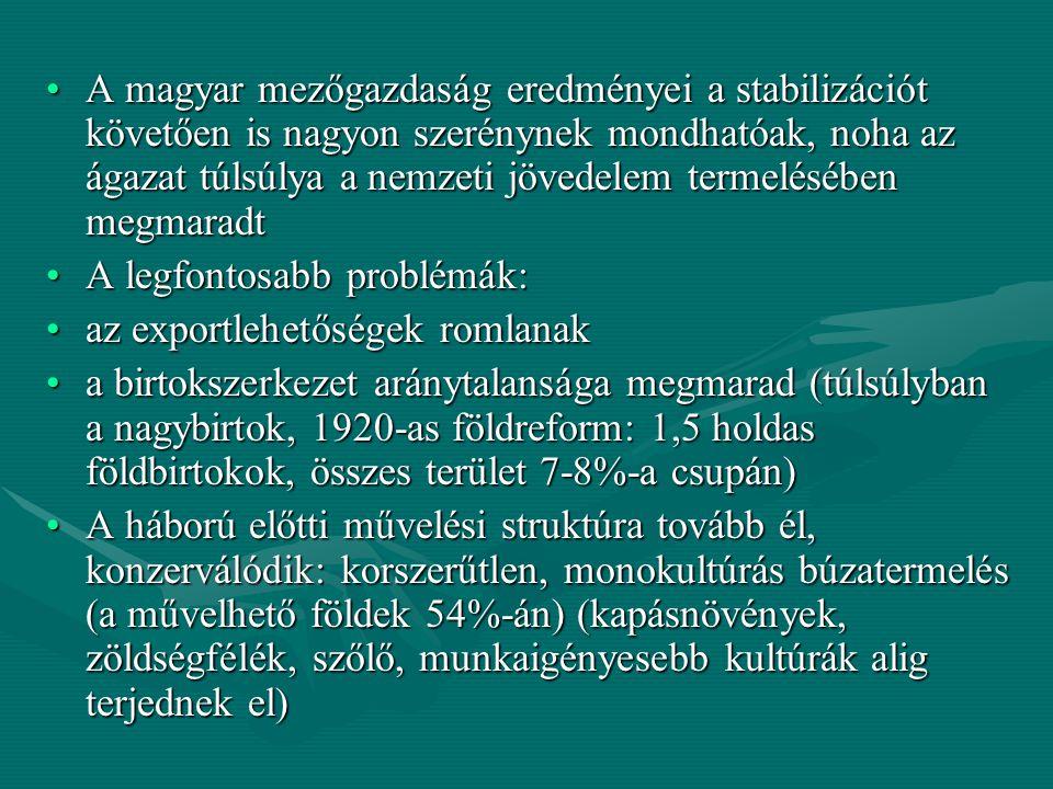 talajerő-gazdálkodás elhanyagolása (trágyázás, műtrágyázás alig) (Ny-Eu: 1-3 q/Ha, Magyarország: 15 kg/Ha) – a termésátlagok, a hozamok alig javulnak, főleg a kisebb gazdaságok vannak rossz helyzetben – a magyar mezőgazdaság lemaradása a térség országaihoz képest is megfigyelhetőtalajerő-gazdálkodás elhanyagolása (trágyázás, műtrágyázás alig) (Ny-Eu: 1-3 q/Ha, Magyarország: 15 kg/Ha) – a termésátlagok, a hozamok alig javulnak, főleg a kisebb gazdaságok vannak rossz helyzetben – a magyar mezőgazdaság lemaradása a térség országaihoz képest is megfigyelhető egyedüli pozitívum: az ugar aránya tovább csökkentegyedüli pozitívum: az ugar aránya tovább csökkent valamit javul a munkafolyamatok gépesítése (szántás: traktorok száma 1925-29 között ötszörösére nő: 6800db, cséplés: tovább javul, de betakarítás, aratás, kapálás még nincs gépesítve)valamit javul a munkafolyamatok gépesítése (szántás: traktorok száma 1925-29 között ötszörösére nő: 6800db, cséplés: tovább javul, de betakarítás, aratás, kapálás még nincs gépesítve) az állattenyésztés komoly visszaesésen megy keresztül: Trianon után csökken az állatállomány mennyisége, de a minőségi javulás ellensúlyozzaaz állattenyésztés komoly visszaesésen megy keresztül: Trianon után csökken az állatállomány mennyisége, de a minőségi javulás ellensúlyozza a mezőgazdaság továbbra is a kivitel domináns részét adja (Ausztria, Csehszlovákia)a mezőgazdaság továbbra is a kivitel domináns részét adja (Ausztria, Csehszlovákia)