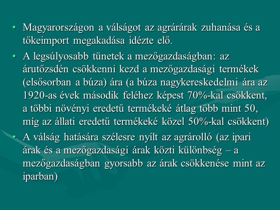 A világkereskedelemben jellemző túlkínálat a magyar kivitelt összezsugorítottaA világkereskedelemben jellemző túlkínálat a magyar kivitelt összezsugorította Az alacsony hatékonyságú és magas önköltséggel dolgozó mezőgazdaság versenyképessége tovább romlott: a gazdák sorra eladósodnak, tönkremennek (mégis többlet- termeléssel reagálnak a válságra, ami a piaci árakat tovább csökkenti) – felszínre kerül az ágazat elavultságaAz alacsony hatékonyságú és magas önköltséggel dolgozó mezőgazdaság versenyképessége tovább romlott: a gazdák sorra eladósodnak, tönkremennek (mégis többlet- termeléssel reagálnak a válságra, ami a piaci árakat tovább csökkenti) – felszínre kerül az ágazat elavultsága A mezőgazdasági bevételek csökkenése az államháztartás bevételeit is veszélyeztette: kormányzati beavatkozásra volt szükségA mezőgazdasági bevételek csökkenése az államháztartás bevételeit is veszélyeztette: kormányzati beavatkozásra volt szükség 1930 nyarán bevezetik a gabonajegy-rendszert (a bolettát) – ez állami ártámogatás, minden eladott mázsa búza után 3 pengő értékű bolettát kapott a termelő, amit adófizetésre lehetett fordítani, adósság-elengedéseket, törlesztő részletek csökkentését teszik lehetővé1930 nyarán bevezetik a gabonajegy-rendszert (a bolettát) – ez állami ártámogatás, minden eladott mázsa búza után 3 pengő értékű bolettát kapott a termelő, amit adófizetésre lehetett fordítani, adósság-elengedéseket, törlesztő részletek csökkentését teszik lehetővé