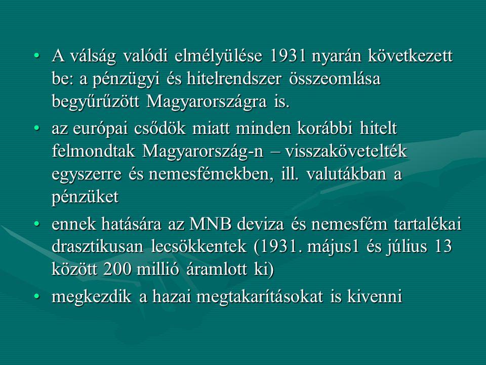 A válság valódi elmélyülése 1931 nyarán következett be: a pénzügyi és hitelrendszer összeomlása begyűrűzött Magyarországra is.A válság valódi elmélyül