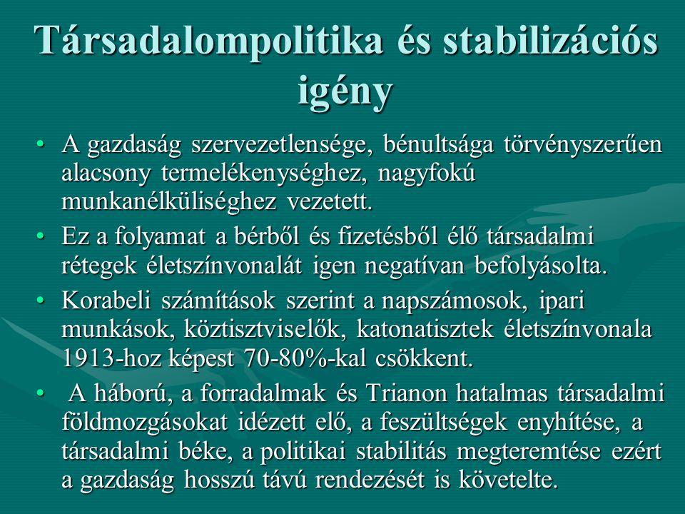 A gazdaság újjászervezésének első lépése: a Hegedűs-féle stabilizációs kísérlet 1920 tavaszán felülbélyegezve a korábbi koronát, átmeneti, ideiglenes jelleggel megteremtették az új, önálló Magyarország pénzjegyét (a kormány a lebélyegzés során a pénz felét kényszerkölcsön formájában meg is tartotta)1920 tavaszán felülbélyegezve a korábbi koronát, átmeneti, ideiglenes jelleggel megteremtették az új, önálló Magyarország pénzjegyét (a kormány a lebélyegzés során a pénz felét kényszerkölcsön formájában meg is tartotta) Ezt követően a Teleki, majd a Bethlen kormány pénzügyminisztere, Hegedűs Lóránt kísérletet tett az infláció megállítására.Ezt követően a Teleki, majd a Bethlen kormány pénzügyminisztere, Hegedűs Lóránt kísérletet tett az infláció megállítására.