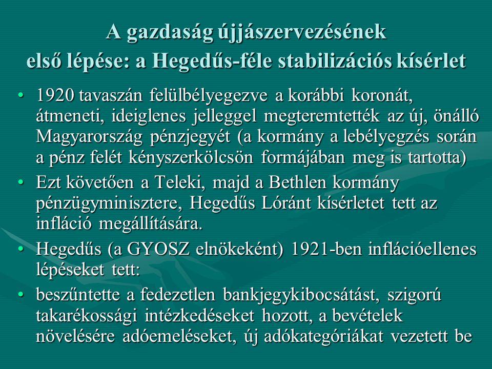 A gazdaság újjászervezésének első lépése: a Hegedűs-féle stabilizációs kísérlet 1920 tavaszán felülbélyegezve a korábbi koronát, átmeneti, ideiglenes