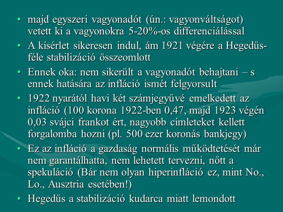 Az új pénzügyminiszter Kállay Tibor lett, s eleinte hasonló inflációellenes lépésekkel próbálkozott:Az új pénzügyminiszter Kállay Tibor lett, s eleinte hasonló inflációellenes lépésekkel próbálkozott: 1922 közepén adóreformot vezetett be, melynek lényege, hogy szélesebb társadalmi rétegekre hárította át a stabilizáció hatalmas költségeit1922 közepén adóreformot vezetett be, melynek lényege, hogy szélesebb társadalmi rétegekre hárította át a stabilizáció hatalmas költségeit Az adórendszer ugyan progresszív volt, (vagyis a nagyobb jövedelmeket nagyobb adókulcs terhelte), de aránytalanul a kisebb jövedelműeket sújtotta az adó.