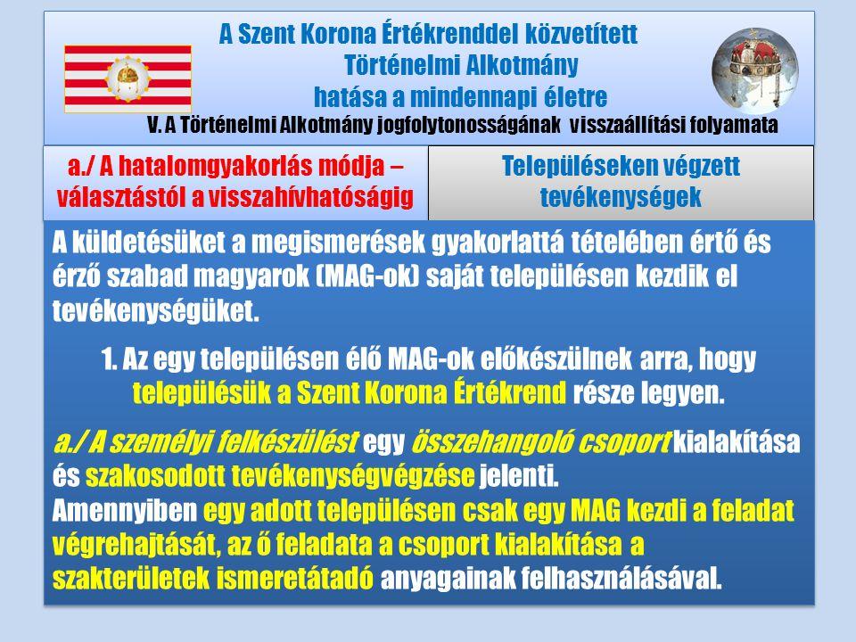A Szent Korona Értékrenddel közvetített Történelmi Alkotmány hatása a mindennapi életre V.A Történelmi Alkotmány jogfolytonosságának visszaállítási folyamata a./ A hatalomgyakorlás módja – választástól a visszahívhatóságig Településeken végzett tevékenységek A küldetésüket a megismerések gyakorlattá tételében értő és érző szabad magyarok (MAG-ok) saját településen kezdik el tevékenységüket.