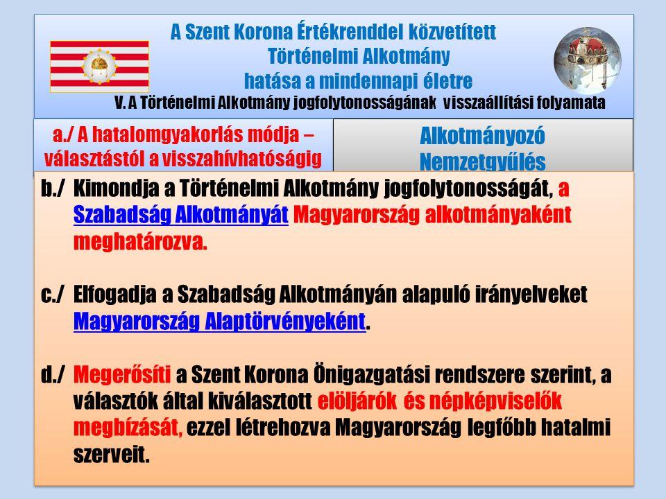 A Szent Korona Értékrenddel közvetített Történelmi Alkotmány hatása a mindennapi életre V.A Történelmi Alkotmány jogfolytonosságának visszaállítási folyamata a./ A hatalomgyakorlás módja – választástól a visszahívhatóságig Alkotmányozó Nemzetgyűlés Alkotmányozó Nemzetgyűlés b./Kimondja a Történelmi Alkotmány jogfolytonosságát, a Szabadság Alkotmányát Magyarország alkotmányaként meghatározva.