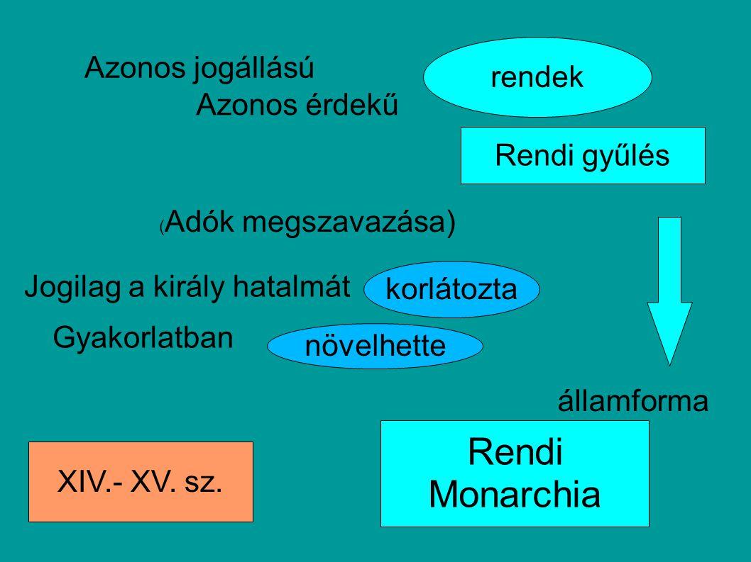 Rendi Monarchia XIV.- XV. sz. Azonos jogállású Azonos érdekű államforma Rendi gyűlés ( Adók megszavazása) Jogilag a király hatalmát Gyakorlatban korlá