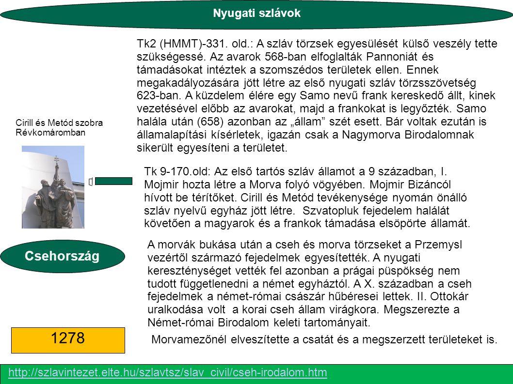 Tk 9-170.old: Az első tartós szláv államot a 9 században, I. Mojmir hozta létre a Morva folyó vögyében. Mojmir Bizáncól hívott be térítőket. Cirill és