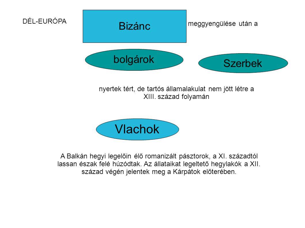 Bizánc Vlachok bolgárok Szerbek DÉL-EURÓPA meggyengülése után a nyertek tért, de tartós államalakulat nem jött létre a XIII. század folyamán A Balkán