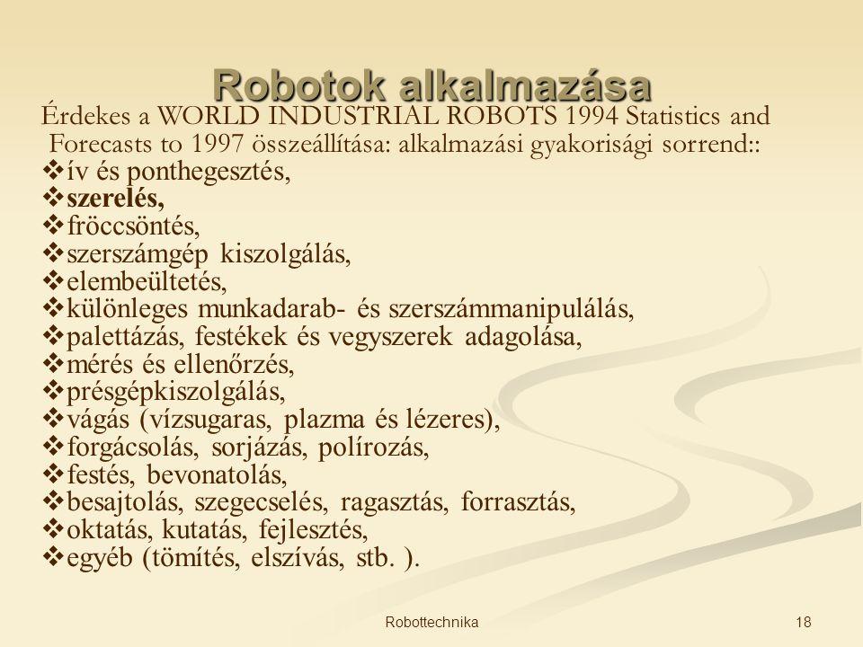 Robotok alkalmazása Érdekes a WORLD INDUSTRIAL ROBOTS 1994 Statistics and Forecasts to 1997 összeállítása: alkalmazási gyakorisági sorrend::  ív és p