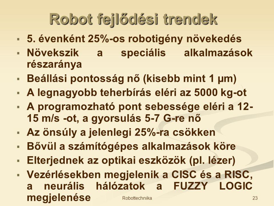 Robot fejlődési trendek   5. évenként 25%-os robotigény növekedés   Növekszik a speciális alkalmazások részaránya   Beállási pontosság nő (kiseb