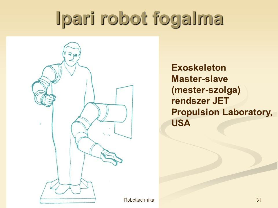Ipari robot fogalma Exoskeleton Master-slave (mester-szolga) rendszer JET Propulsion Laboratory, USA 31Robottechnika