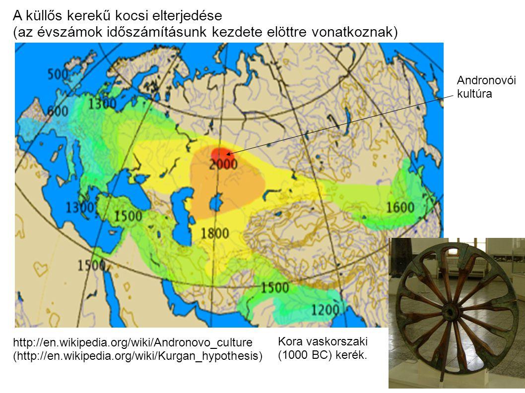 A küllős kerekű kocsi elterjedése (az évszámok időszámításunk kezdete elöttre vonatkoznak) http://en.wikipedia.org/wiki/Andronovo_culture (http://en.wikipedia.org/wiki/Kurgan_hypothesis) Andronovói kultúra Kora vaskorszaki (1000 BC) kerék.