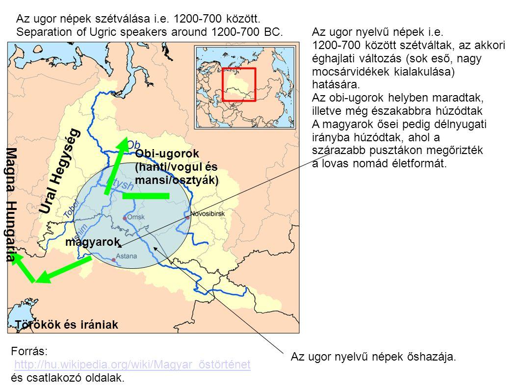 Obi-ugorok (hanti/vogul és mansi/osztyák) magyarok Az ugor nyelvű népek i.e. 1200-700 között szétváltak, az akkori éghajlati változás (sok eső, nagy m