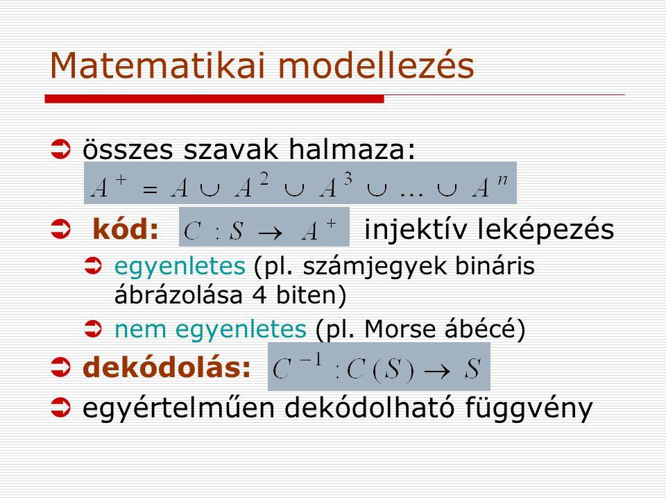 Matematikai modellezés Üösszes szavak halmaza: Ü kód: injektív leképezés Üegyenletes (pl.