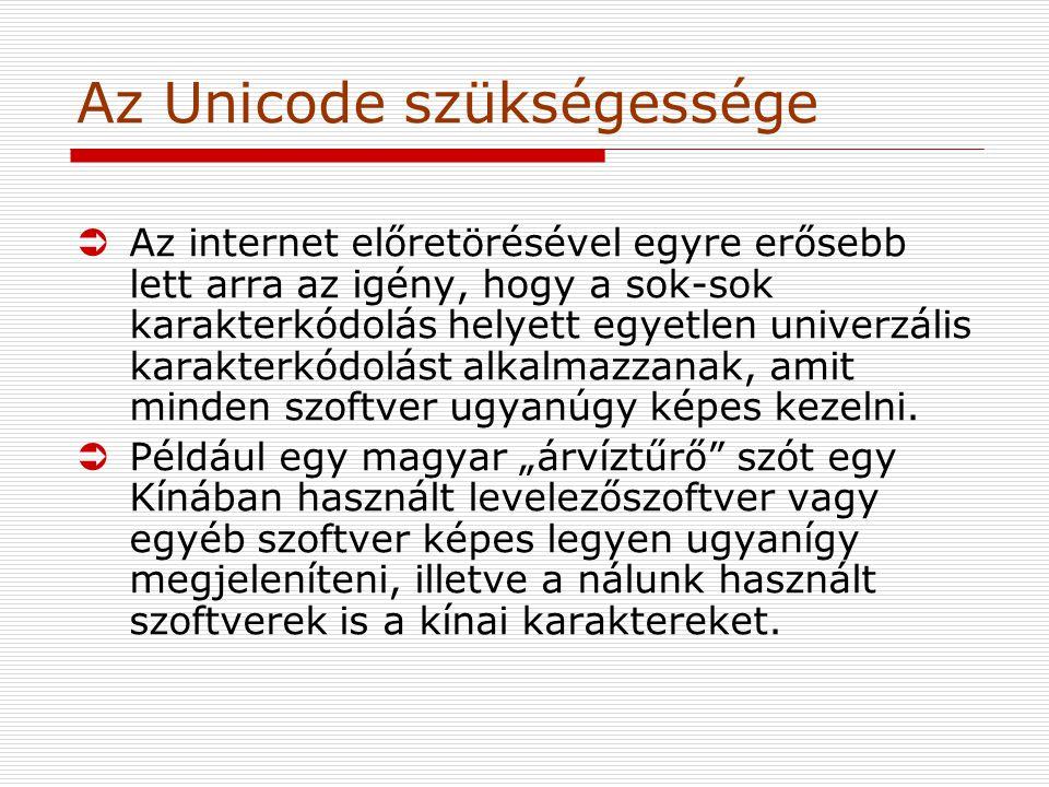Az Unicode szükségessége ÜAz internet előretörésével egyre erősebb lett arra az igény, hogy a sok-sok karakterkódolás helyett egyetlen univerzális karakterkódolást alkalmazzanak, amit minden szoftver ugyanúgy képes kezelni.