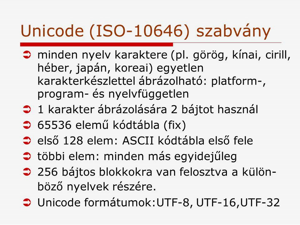 Unicode (ISO-10646) szabvány Üminden nyelv karaktere (pl.