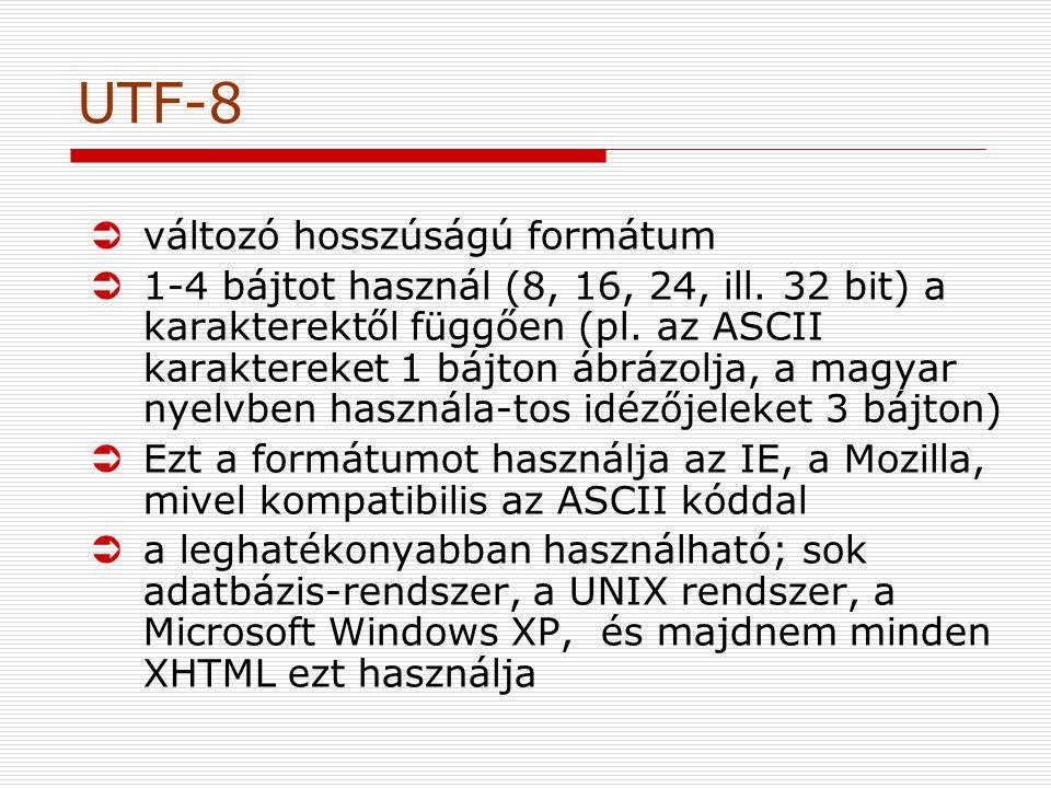 UTF-8 Üváltozó hosszúságú formátum Ü1-4 bájtot használ (8, 16, 24, ill.
