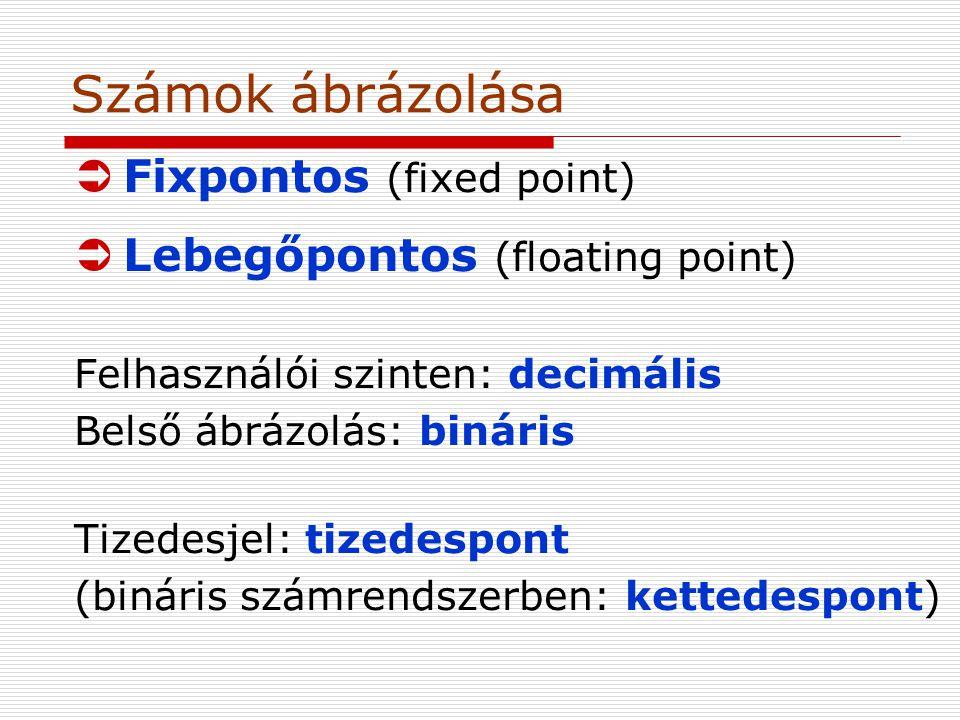 Számok ábrázolása ÜFixpontos (fixed point) ÜLebegőpontos (floating point) Felhasználói szinten: decimális Belső ábrázolás: bináris Tizedesjel: tizedespont (bináris számrendszerben: kettedespont)