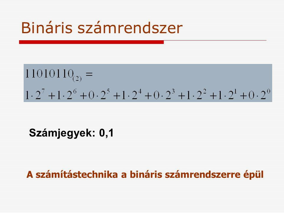 Bináris számrendszer Számjegyek: 0,1 A számítástechnika a bináris számrendszerre épül