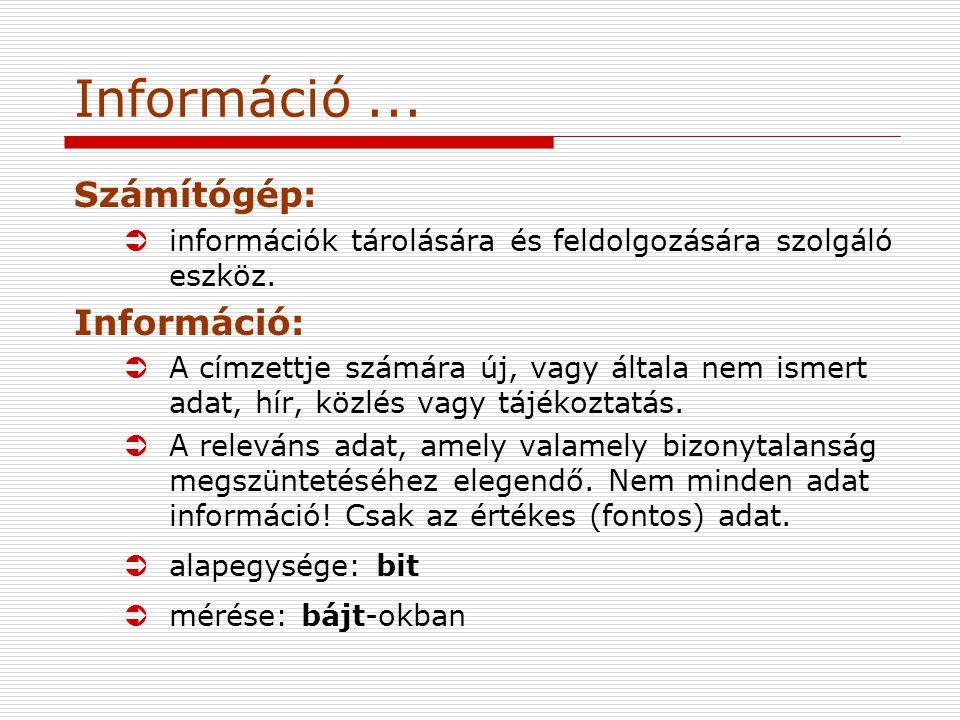 Információ...Számítógép: Üinformációk tárolására és feldolgozására szolgáló eszköz.
