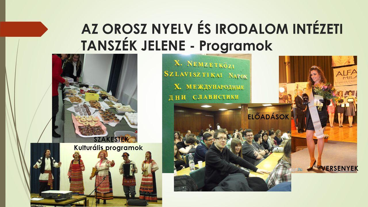 AZ OROSZ NYELV ÉS IRODALOM INTÉZETI TANSZÉK JELENE - Programok SZAKESTEK Kulturális programok ELŐADÁSOK VERSENYEK