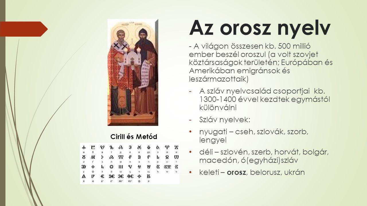 Az orosz nyelv - A világon összesen kb. 500 millió ember beszél oroszul (a volt szovjet köztársaságok területén; Európában és Amerikában emigránsok és