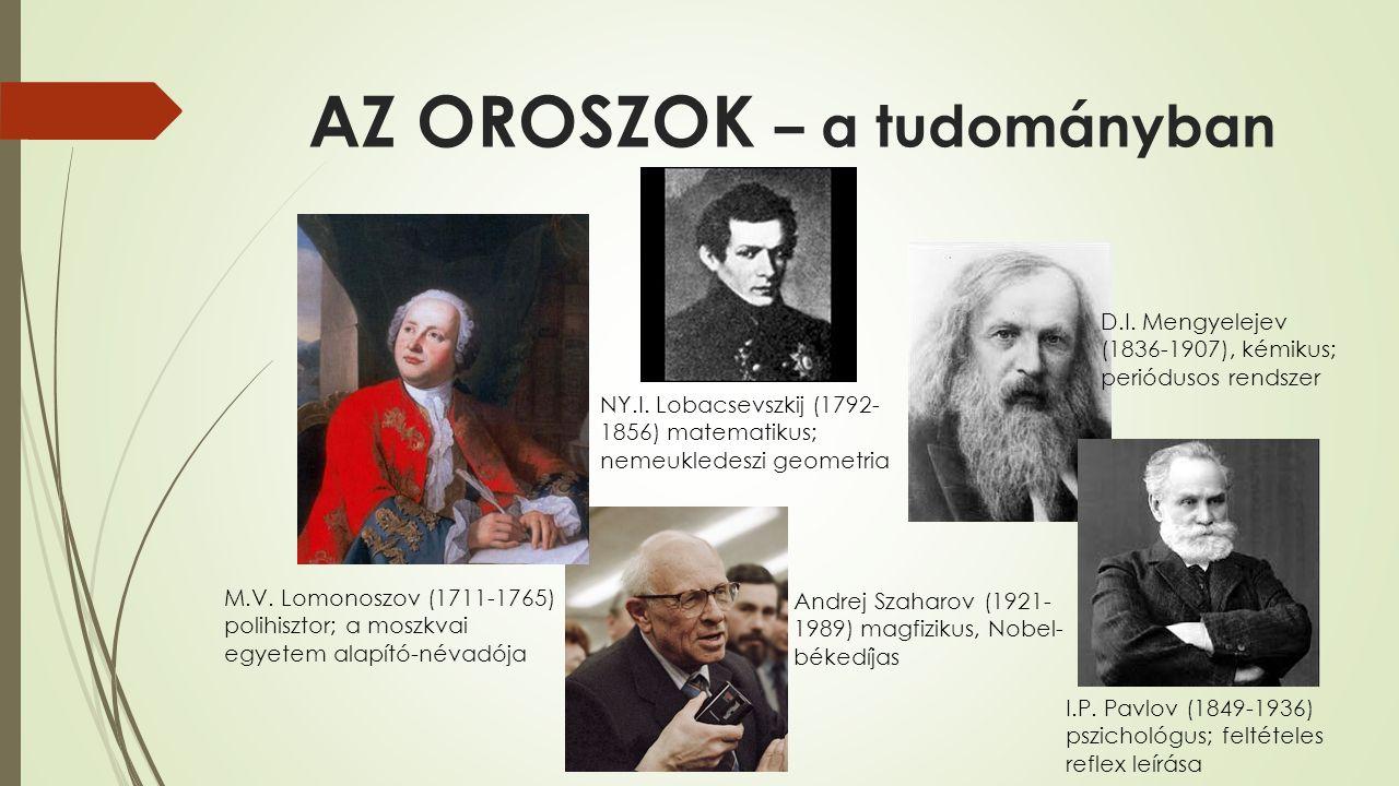 AZ OROSZOK – a tudományban Andrej Szaharov (1921- 1989) magfizikus, Nobel- békedíjas D.I. Mengyelejev (1836-1907), kémikus; periódusos rendszer I.P. P