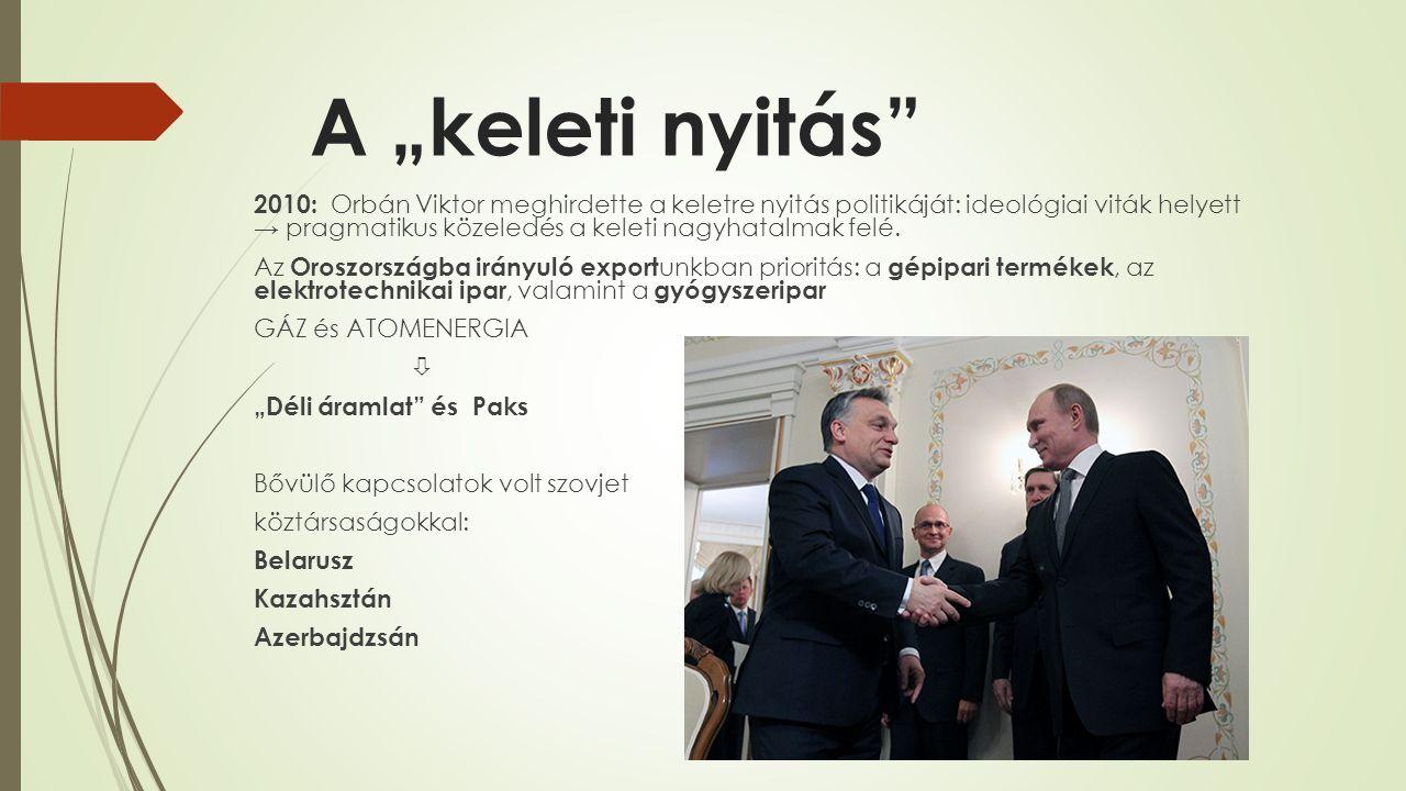 """A """"keleti nyitás"""" 2010: Orbán Viktor meghirdette a keletre nyitás politikáját: ideológiai viták helyett → pragmatikus közeledés a keleti nagyhatalmak"""