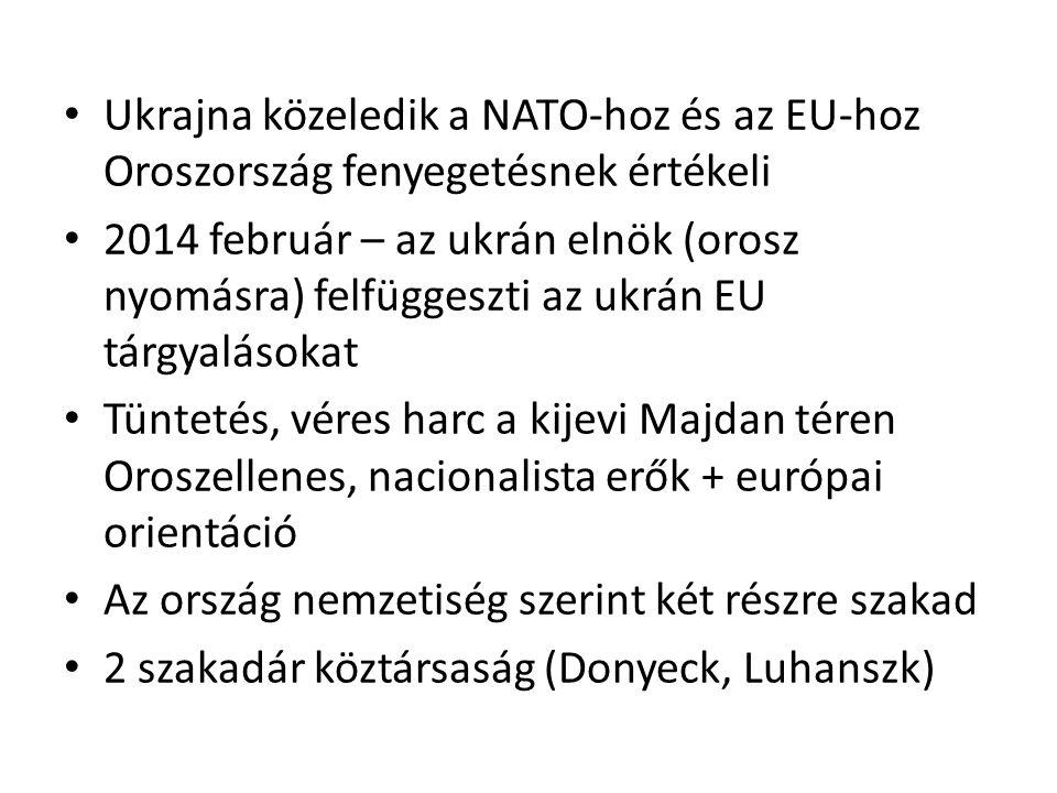 Ukrajna közeledik a NATO-hoz és az EU-hoz Oroszország fenyegetésnek értékeli 2014 február – az ukrán elnök (orosz nyomásra) felfüggeszti az ukrán EU tárgyalásokat Tüntetés, véres harc a kijevi Majdan téren Oroszellenes, nacionalista erők + európai orientáció Az ország nemzetiség szerint két részre szakad 2 szakadár köztársaság (Donyeck, Luhanszk)