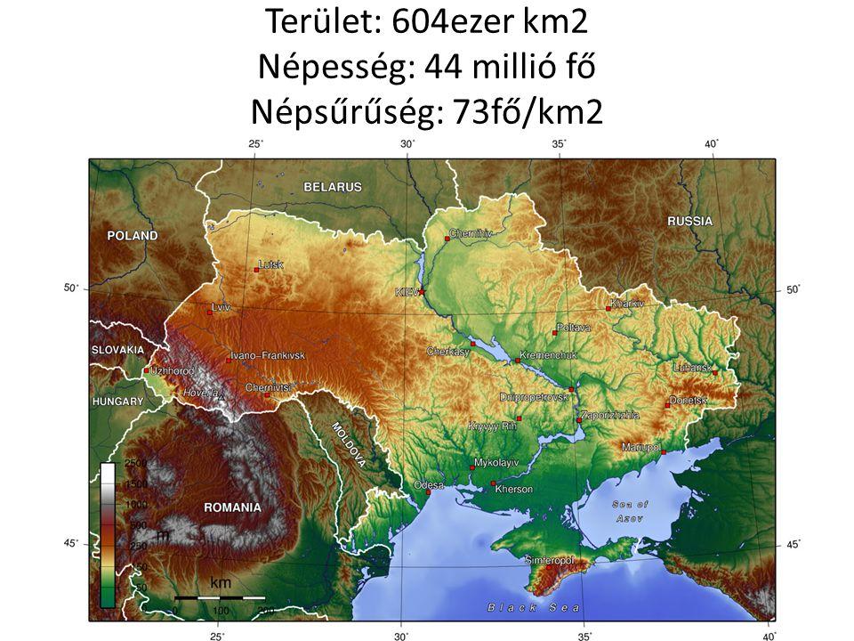 Terület: 604ezer km2 Népesség: 44 millió fő Népsűrűség: 73fő/km2
