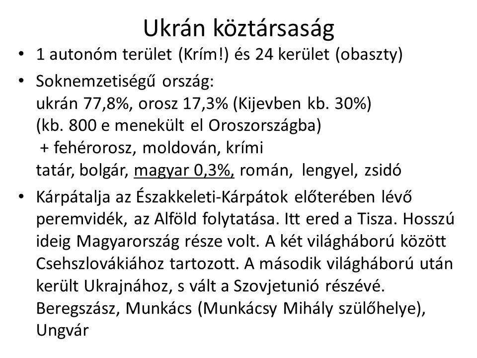 Ukrán köztársaság 1 autonóm terület (Krím!) és 24 kerület (obaszty) Soknemzetiségű ország: ukrán 77,8%, orosz 17,3% (Kijevben kb.