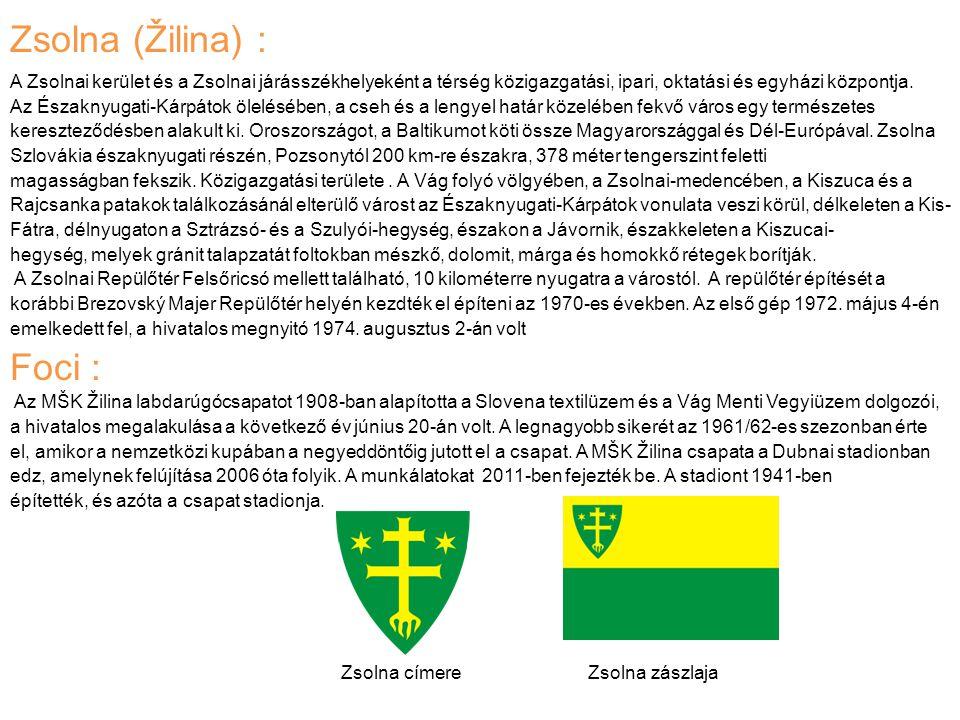 Zsolna (Žilina) : A Zsolnai kerület és a Zsolnai járásszékhelyeként a térség közigazgatási, ipari, oktatási és egyházi központja. Az Északnyugati-Kárp