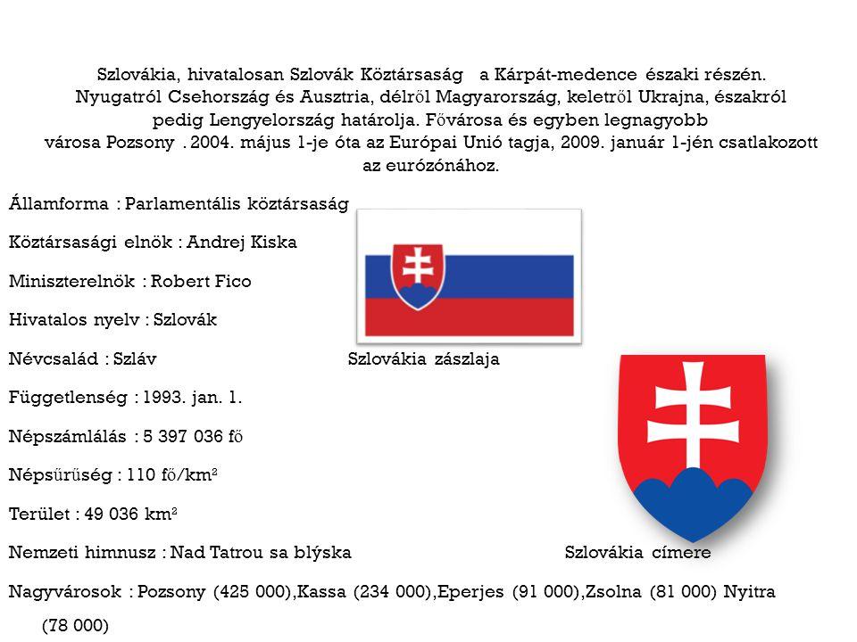 Szlovákia, hivatalosan Szlovák Köztársaság a Kárpát-medence északi részén. Nyugatról Csehország és Ausztria, délr ő l Magyarország, keletr ő l Ukrajna